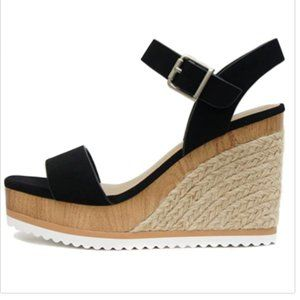 SODA ~ Espadrilles Jute with Woods Open Toe Ankle